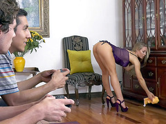 Nicole Aniston in lingerie and high heels cleans the room