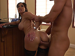 Fantastic mom Kendra Lust bends over the table and gets her pussy slammed