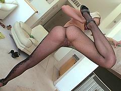 Anikka Albrite wearing fishnet panty hose getting her big ass worshipped