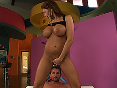 Busty chick Alison Star sits on top of him and rides his cock reverse cowgirl