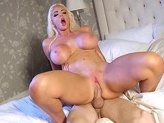 Big titted Nicolette Shea enjoys riding the hard boner