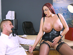 Emma Butt serves the hard cock with her hand and feet