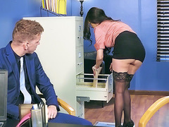 Dude noticed the buttplug Raven Bay's ass in the office