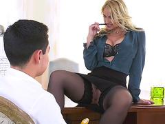 Blonde teacher Sarah Vandella plays with her pussy