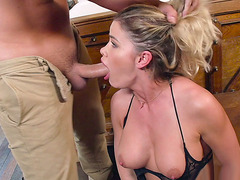 Jessa Rhodes got her mouth fucked by big Keiran's cock