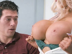 Nicolette Shea gets her big tits worshipped by Xander