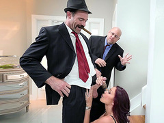 Monique Alexander's husband watches her sucking his boss' cock