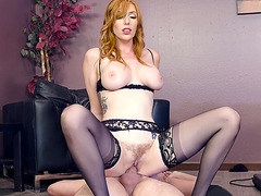 Redhead Lauren Phillips in sexy outfit gets fucked