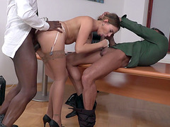 Ani Black Fox in sexy stockings fucked in threesome