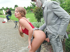 Alessandra Jane gets banged standing in the park