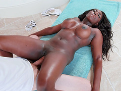 Big titted Jai James gets pussy filled with the enormous dick