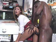 Jade Jantzen gets banged standing by horny black mechanic