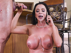 Big breasted hottie Ariella Ferrera gets facialed