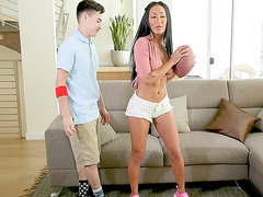 Amia Miley playing with Juan traumatizing his dick