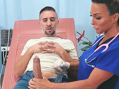 Nurse Aubrey Black gives nice blowjob to Keiran Lee