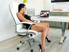 MILF Rachel Starr plays with her pussy in the office