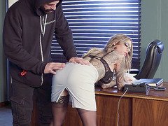 Tattooed blonde Karma Rx getting blindfoled in the office