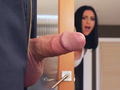 Audrey Bitoni noticed her guy's cock and began foreplay with him
