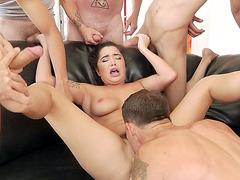 Karlee Grey has fun with many horny guys