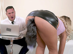 Assh Lee in mini skirt shows off the butt plug in her ass