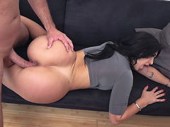 Brunette Valerie Kay getting pussy drilled on the sofa