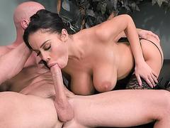 Amazing Latina Victoria June orally pleasures the big prick