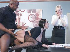 Brunette mom Angela White getting nailed on the desk