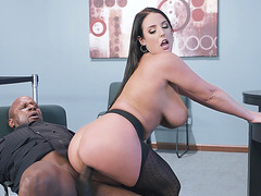 Angela White gets banged in sideway cowgirl position