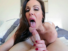 Kendra Lust sucks cock and licks balls