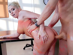 Blonde mom Christie Stevens got fucked in the classroom