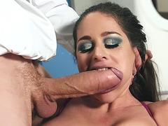 Hungarian MILF Cathy E sucks the monster cock