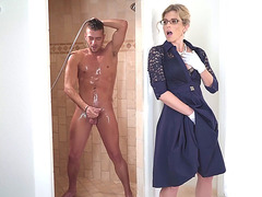 Blonde Cory Chase excited by the size of Xander's cock