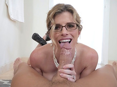 Cory Chase in glasses gives nice blowjob