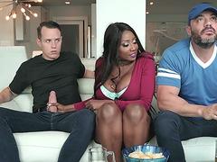 Diamond Jackson gives blowjob next to her husband