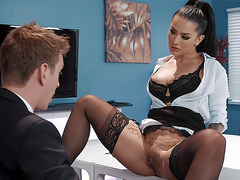 Katrina Jade getting her pussy and ass licked on the desk