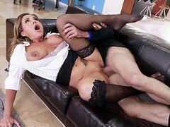 Busty Aubrey Black gets pussy slammed in spoon