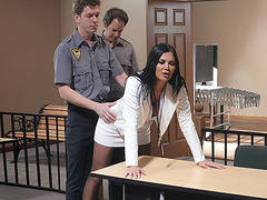 Jasmine Jae got her pantyhose ripped by the cop