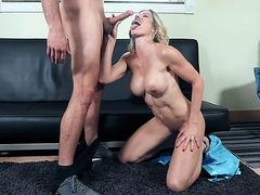 Busty mom Cory Chase gives masterful blowjob