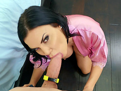 Brunette mom Jasmine Jae is sucking cock in POV