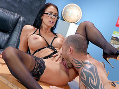 Reagan Foxx in stockings loves getting her slit tongued