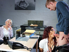 Amina Danger in glasses is sucking the big cock