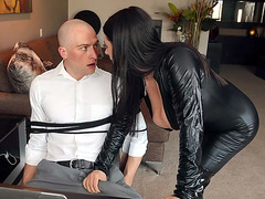 Angela White serves the cock with her mouth and tits