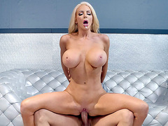 Busty Nicolette Shea slides her pussy on the hard prick