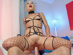Abella Danger rides the stiff dick with her trimmed pussy