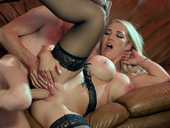 Blonde Amber Jade get her pussy filled with the stiff dick
