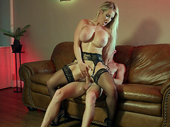 Amber Jade in black stockings rides the hard cock