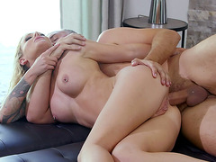 Isabelle Deltore lying on her side gets asshole drilled