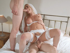 Bride Sienna Day gets fucked by two horny guys