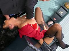 Aaliyah Hadid is sucking cock in the office
