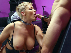 MILF Ryan Keely is sucking the tied guy's cock